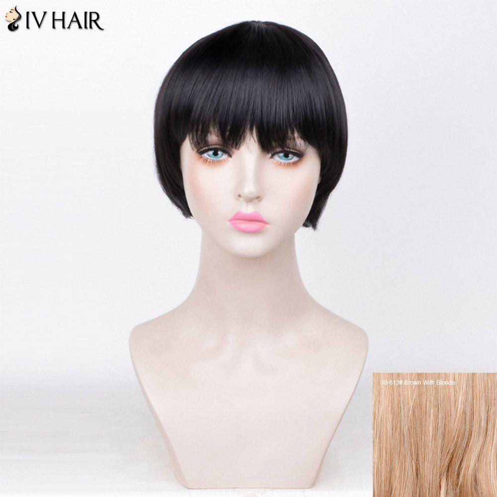 Siv Hair Straight Full Fringe Short Bob Human Hair Wig - BROWN/BLONDE