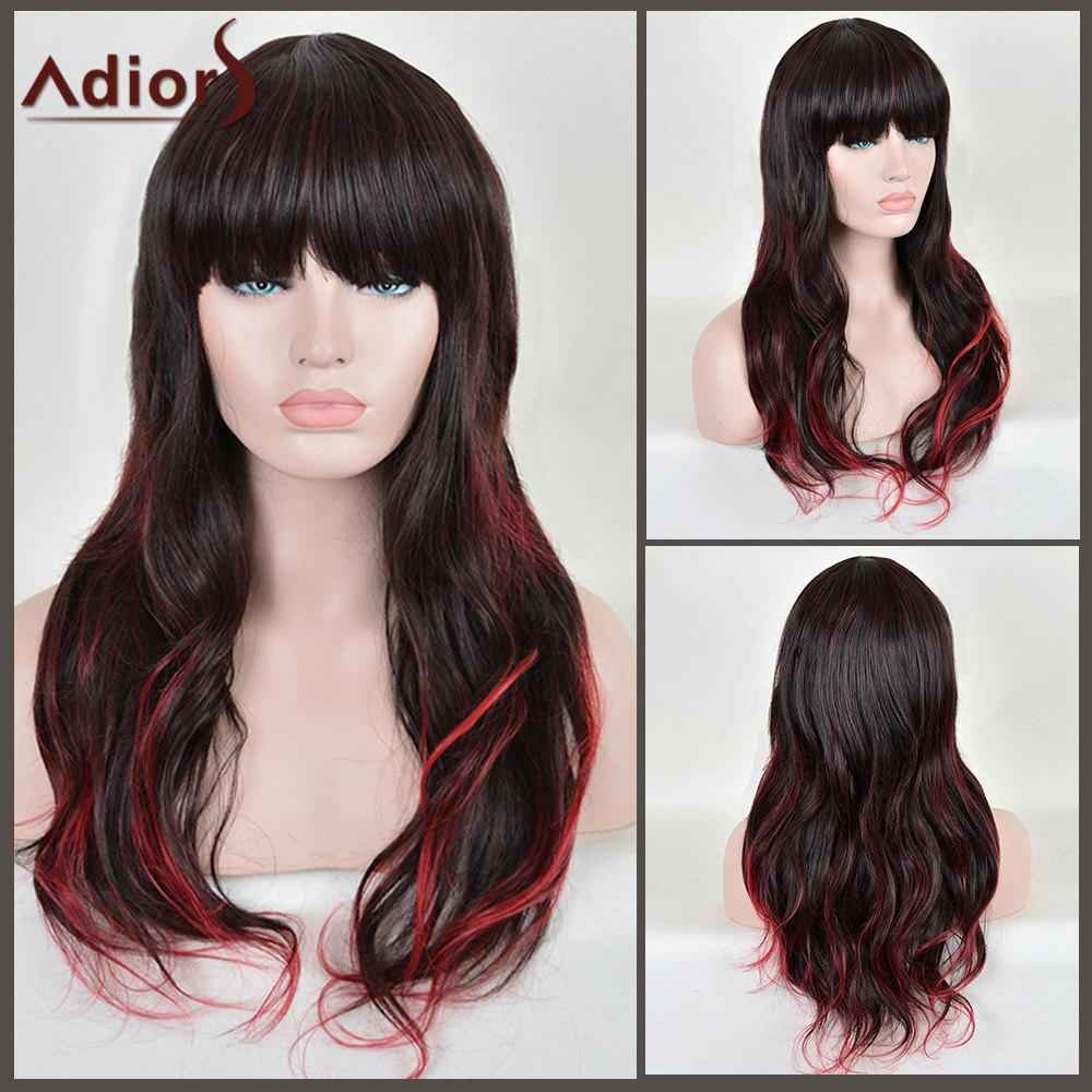 Adiors Full Bang Colormix Long Wavy Synthetic Wig adiors colormix long side bang half braided wavy synthetic wig