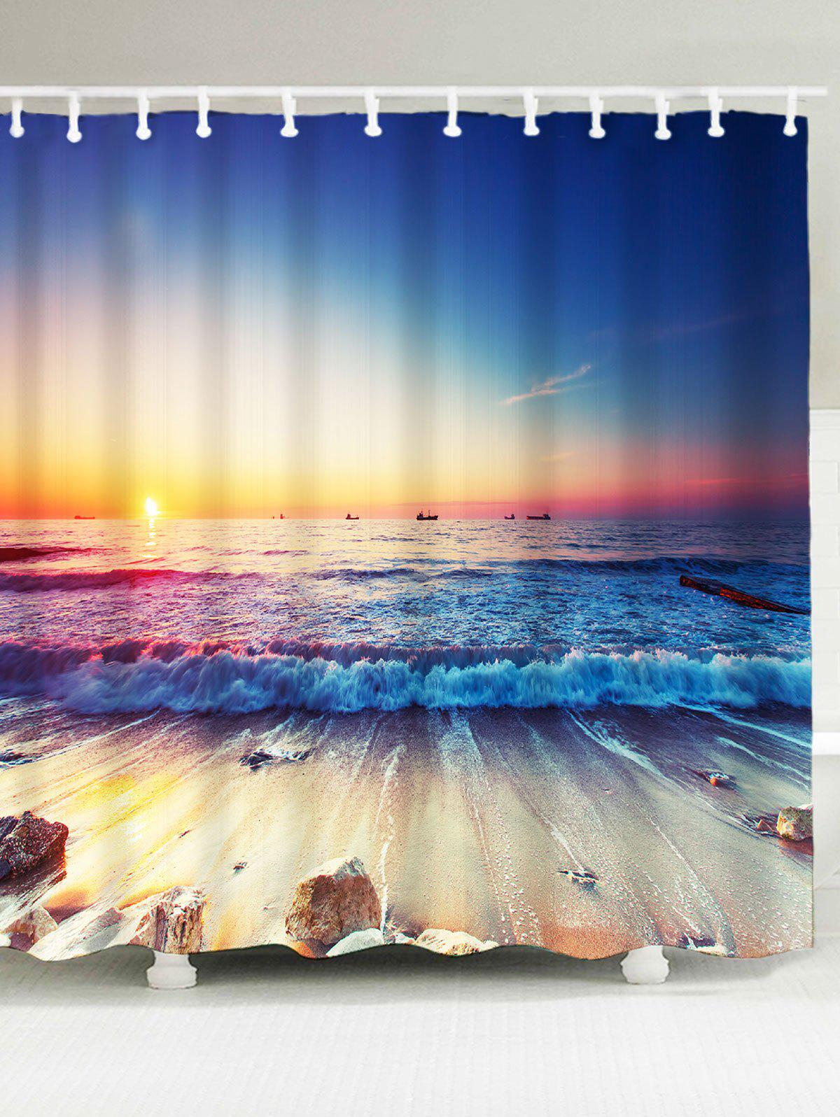 Waterproof Beach Sunlight Shower Curtain beach palm tree waterproof anti bacteria shower curtain