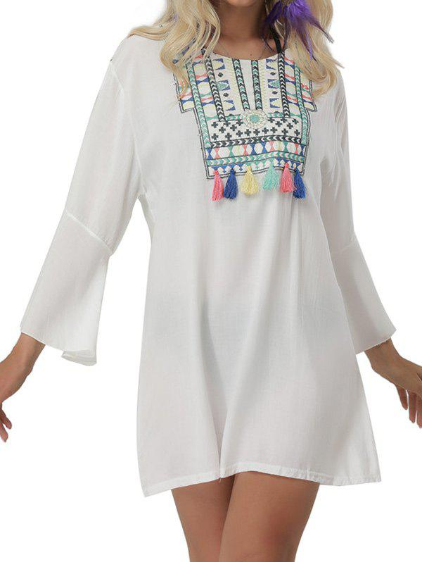 Embroidered Bell Sleeve Mini Cover Up Dress - WHITE ONE SIZE