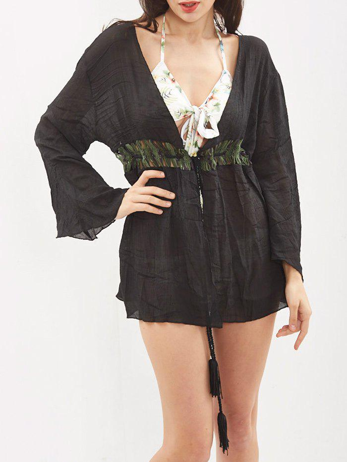 Hollow Out Tassel Kimono Cover Up - Noir ONE SIZE