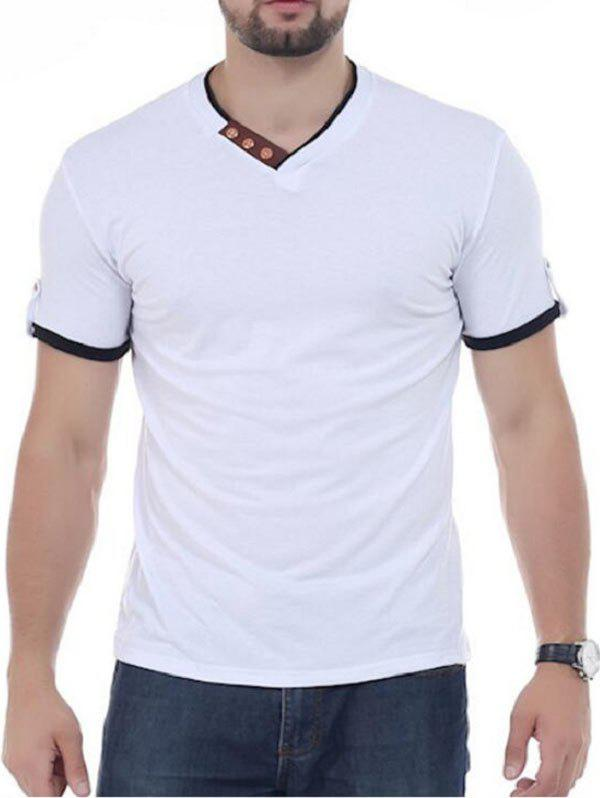 Button Embellish V Neck Tee - Blanc 2XL