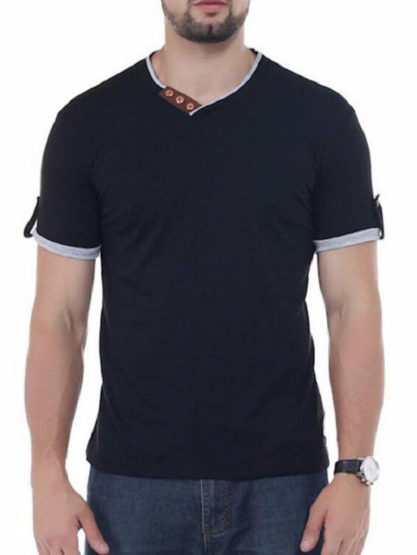 Button Embellish V Neck Tee - Noir 2XL