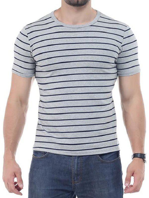 Crew Neck Striped Short Sleeves T-shirt - GRAY 3XL
