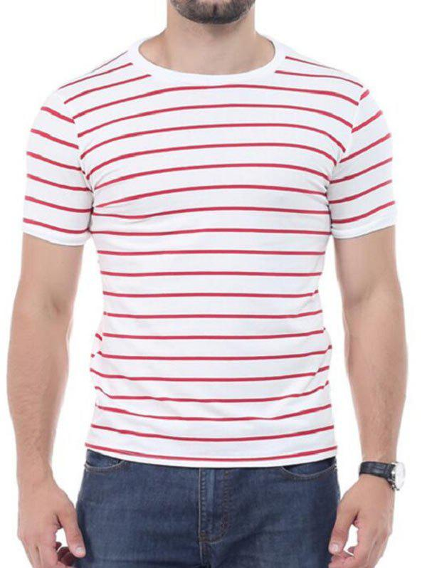 Crew Neck Striped Short Sleeves T-shirt - RED XL