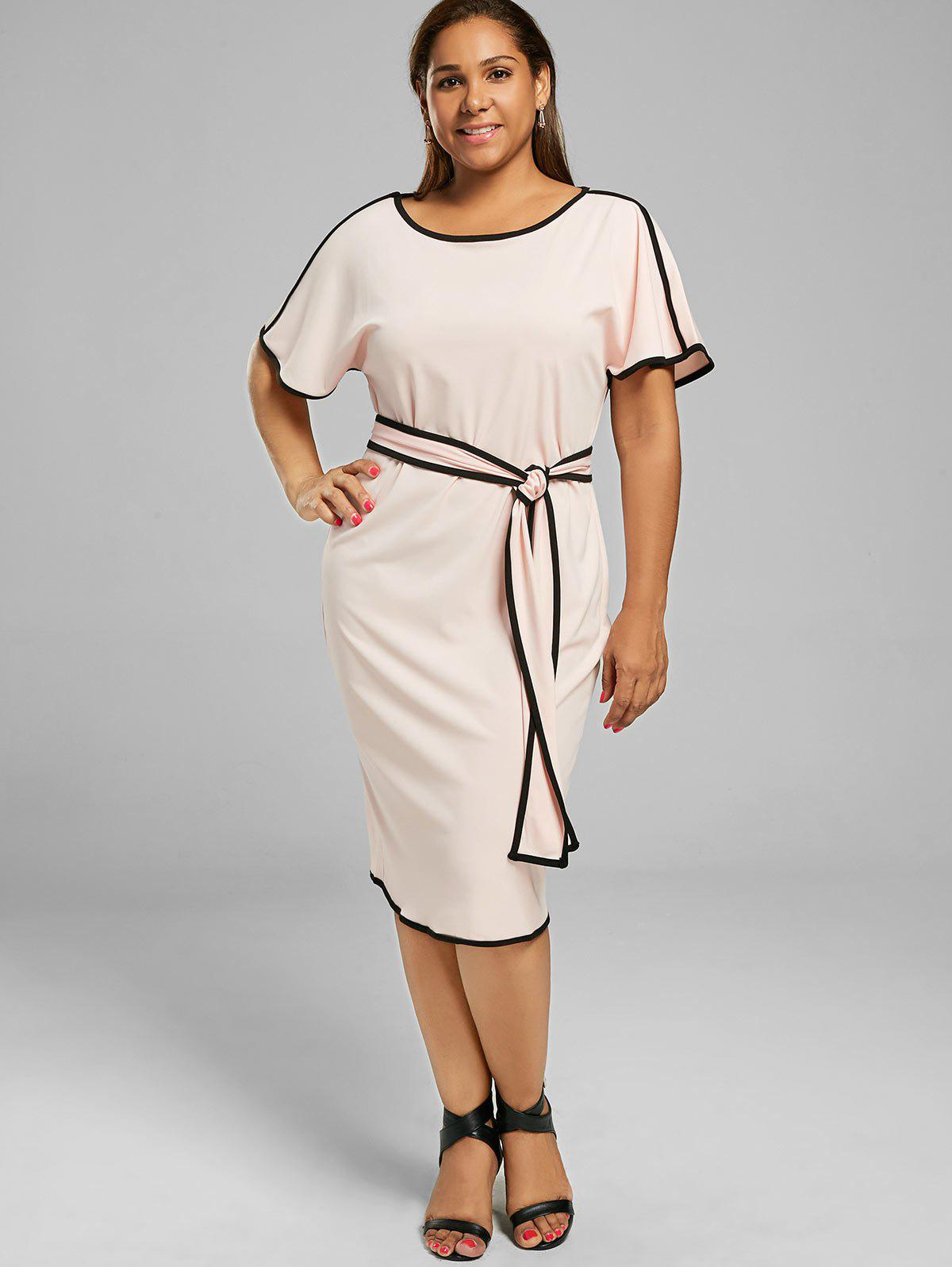 2017 Knee Length Plus Size Modest Dress Pink Xl In Plus Size Dresses
