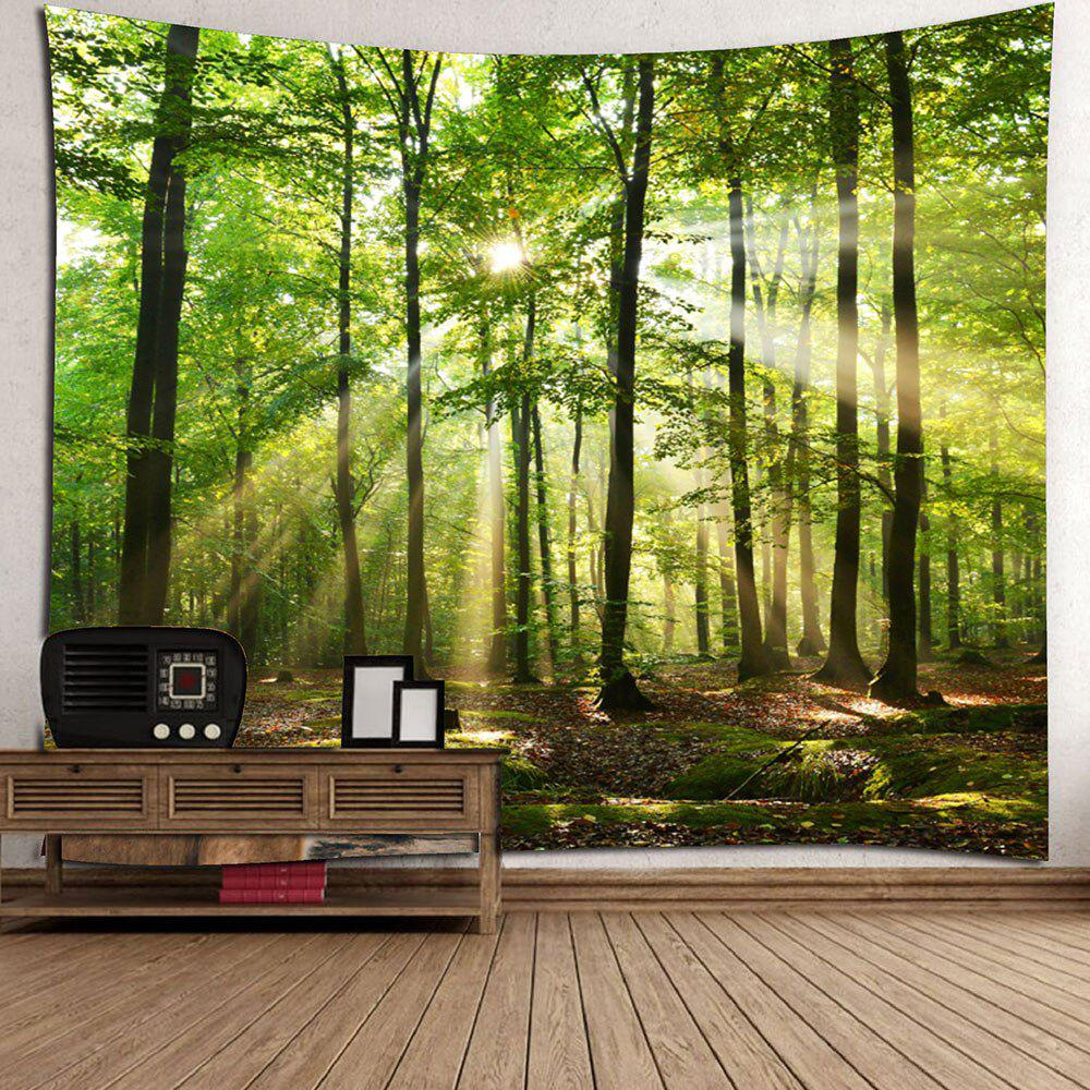 Forest Sunlight Decorative Wall Tapestry - GREEN W91 INCH * L71 INCH