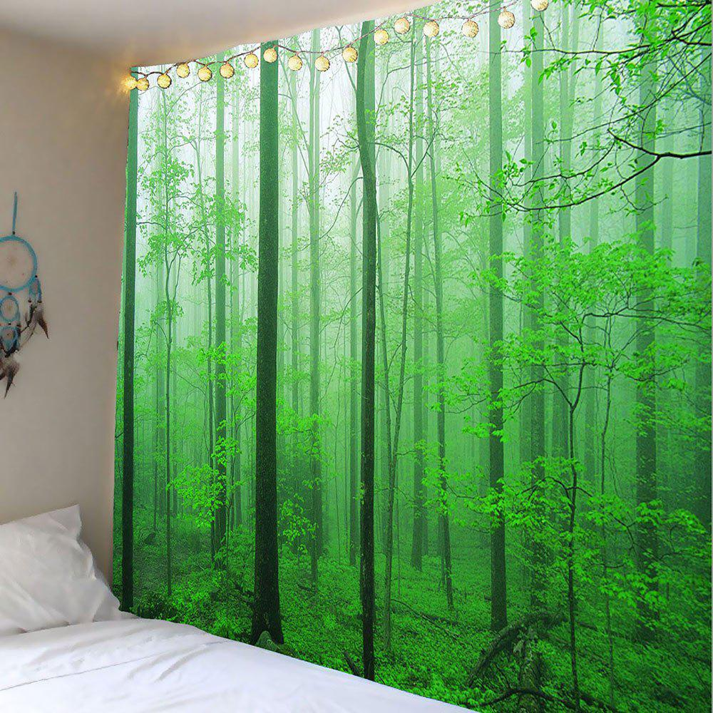 2018 home decor forest tree wall hanging tapestry green w inch l inch in wall tapestries online. Black Bedroom Furniture Sets. Home Design Ideas