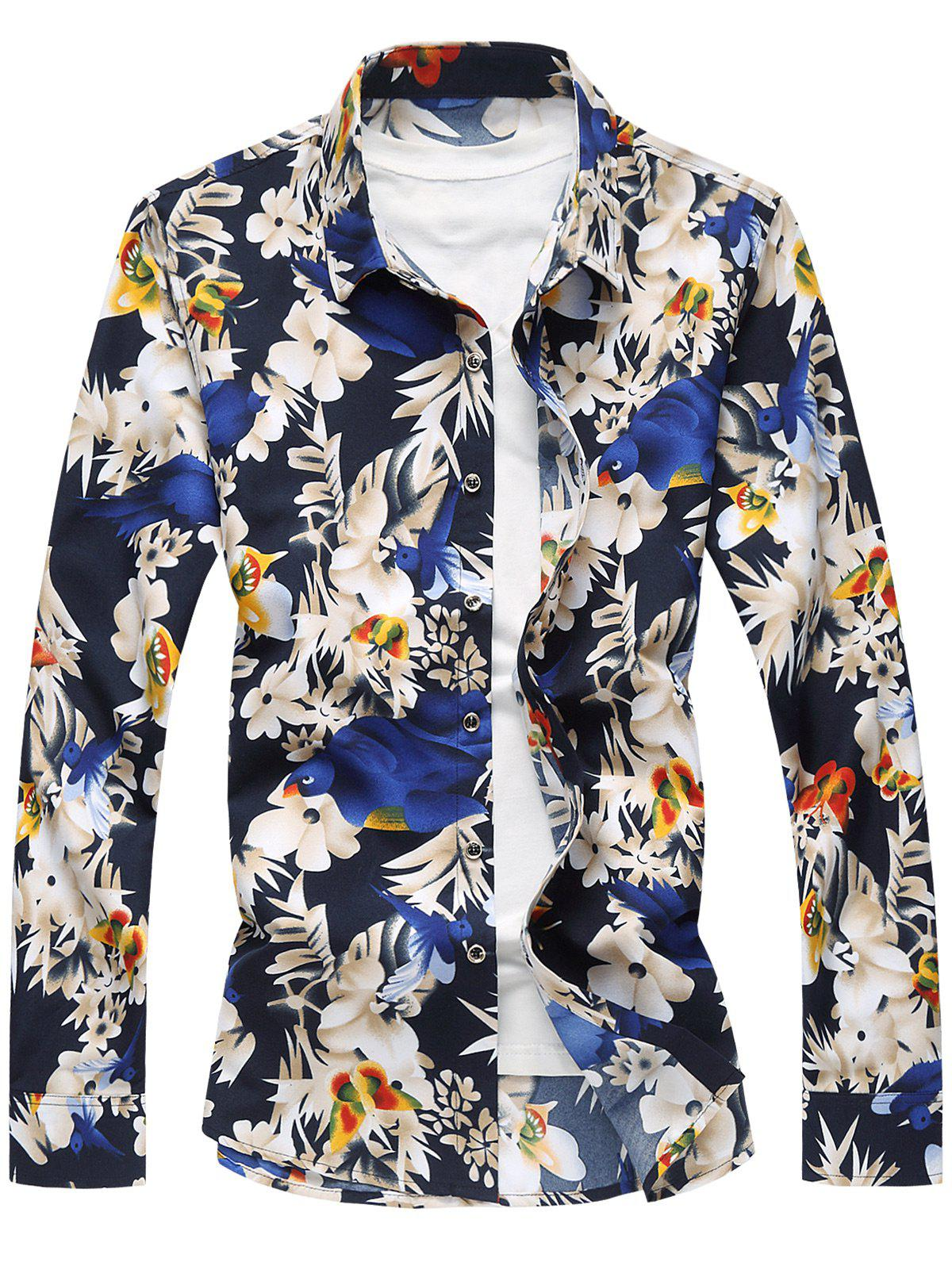 Plus Size Flowers and Birds Print Long Sleeve Shirt - COLORMIX 7XL