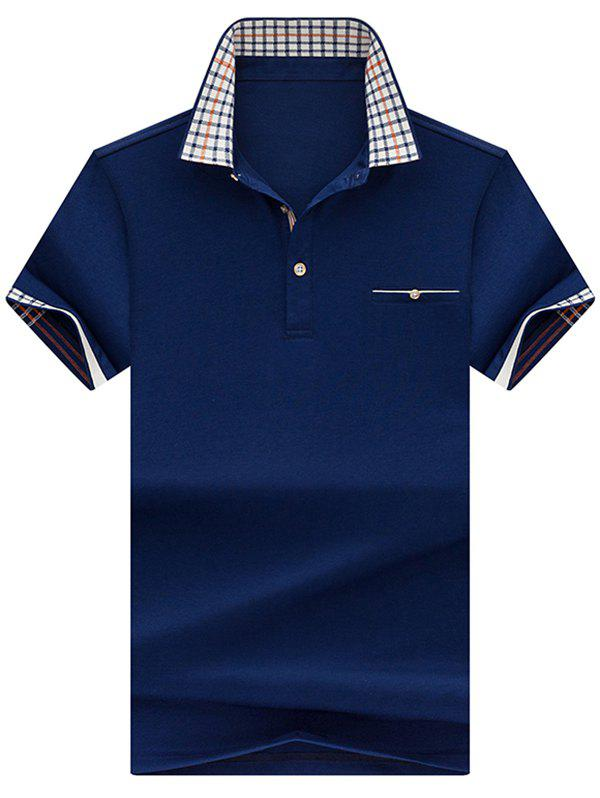Checked Collar Chest Pocket Polo Shirt - ROYAL L