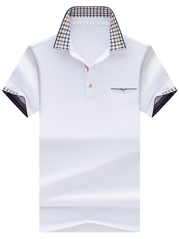 Checked Collar Chest Pocket Polo Shirt - WHITE L