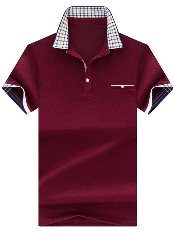 Checked Collar Chest Pocket Polo Shirt - CLARET L
