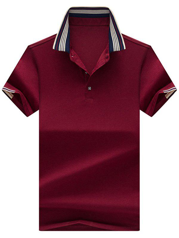 Stripe Collar Half Button Golf Shirt - CLARET XL