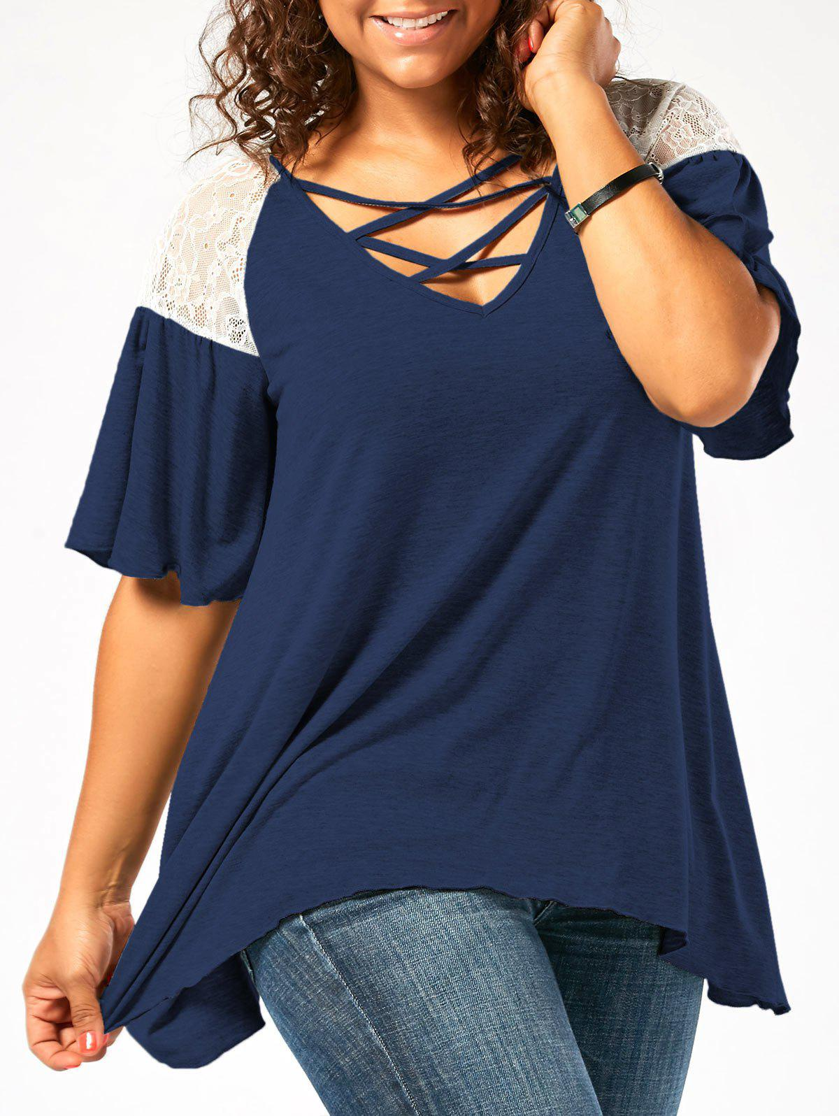 Plus Size Criss Cross Drop Shoulder Tunic T-Shirt - CERULEAN 3XL