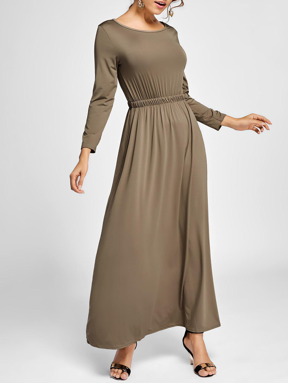 A Line Long Sleeve Long Dress smock long sleeve a line dress