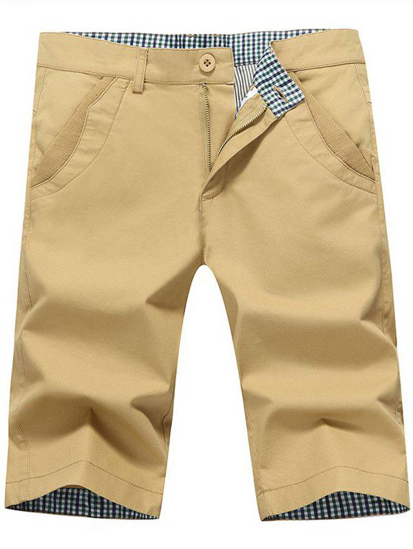 Back Pockets Zipper Fly Bermuda Shorts - KHAKI 34