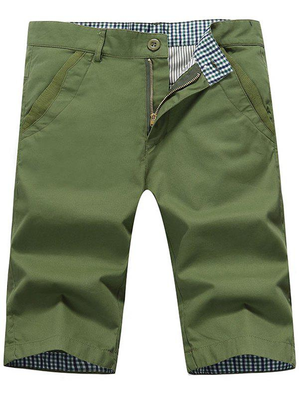 Back Pockets Zipper Fly Bermuda Shorts - Vert Armée 40