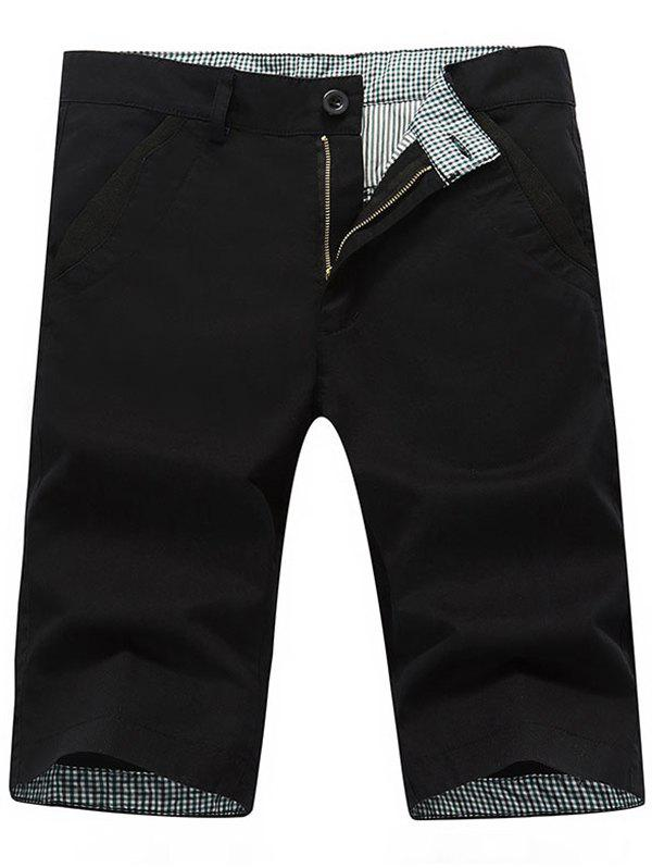 Back Pockets Zipper Fly Bermuda Shorts - BLACK 36
