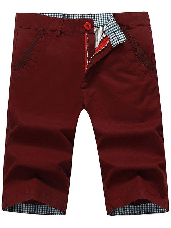 Back Pockets Zipper Fly Bermuda Shorts - WINE RED 36
