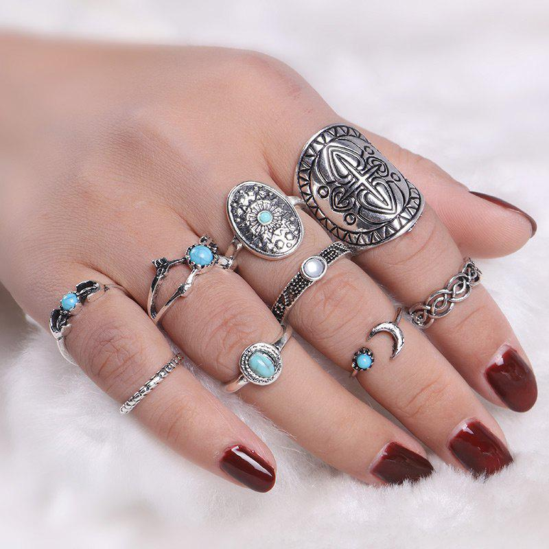 Vintage Faux Turquoise Oval Moon Ring Set - Argent