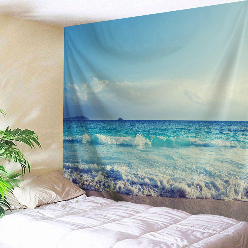 How To Hang Fabric On Walls sea wave wall hanging fabric tapestry, sky blue, w inch l inch in