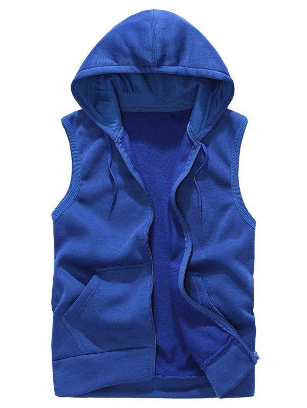 Rib Panel Hooded Zip Up Fleece Waistcoat - ROYAL XL