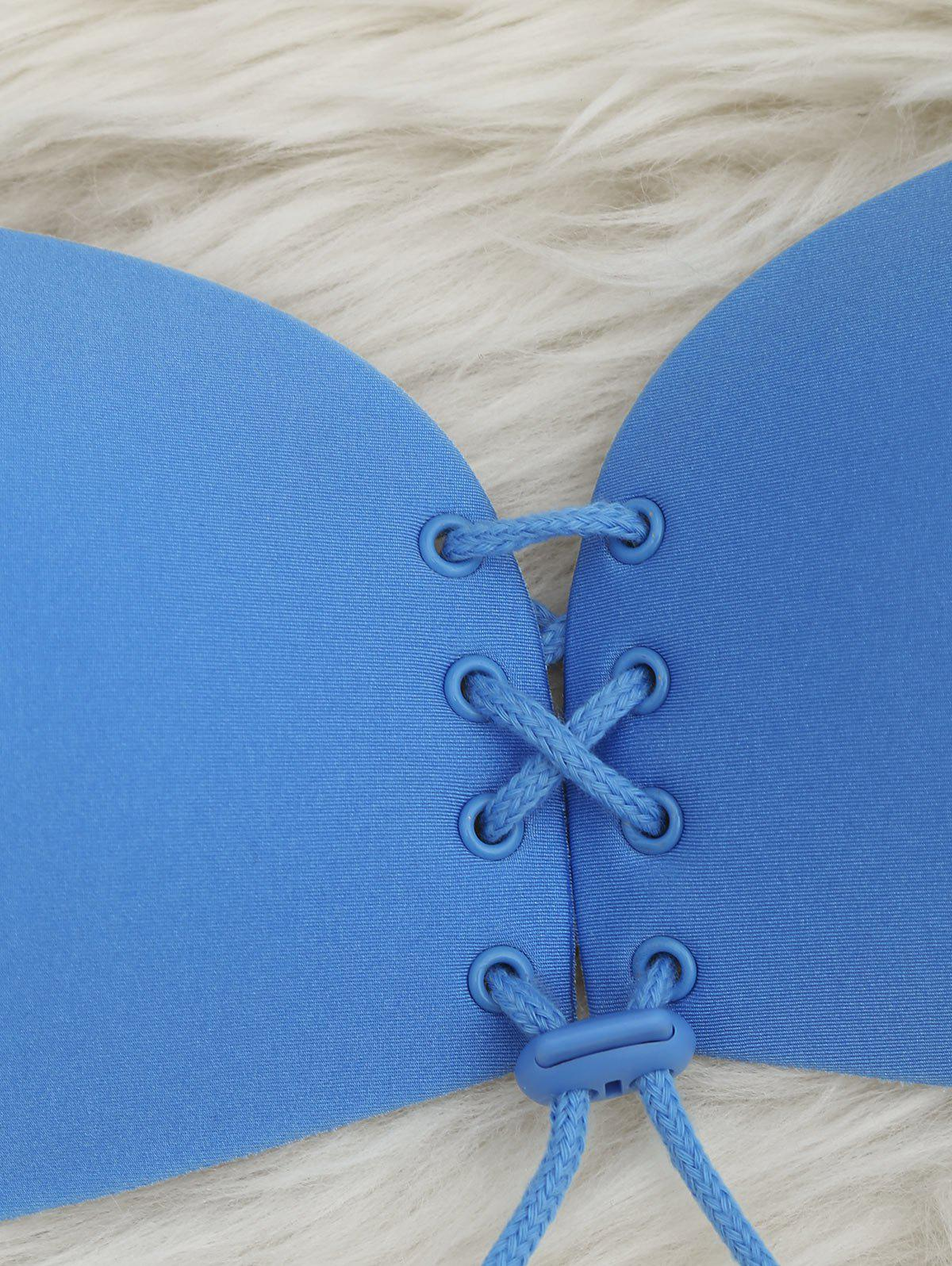 Seamless Lace Up Adhensive Bra - BLUE 80D