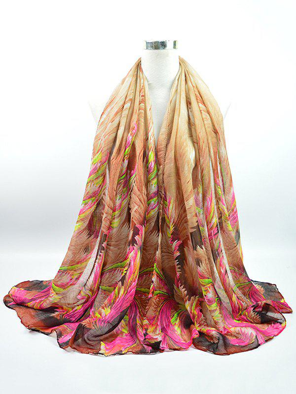 Gossamer Voile Multicolor Watercolour Printed Shawl Scarf - BROWN