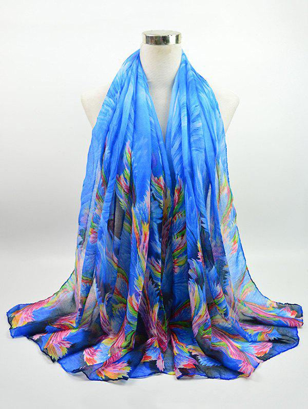 Gossamer Voile Multicolor Watercolour Printed Shawl Scarf nostalgic pattern voile gossamer shawl scarf