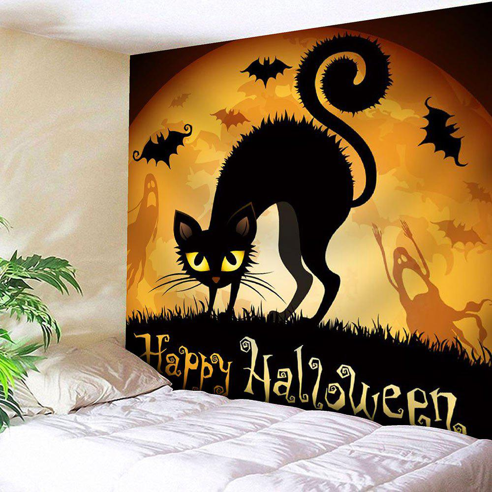 все цены на Waterproof Halloween Cat Bat Print Wall Tapestry