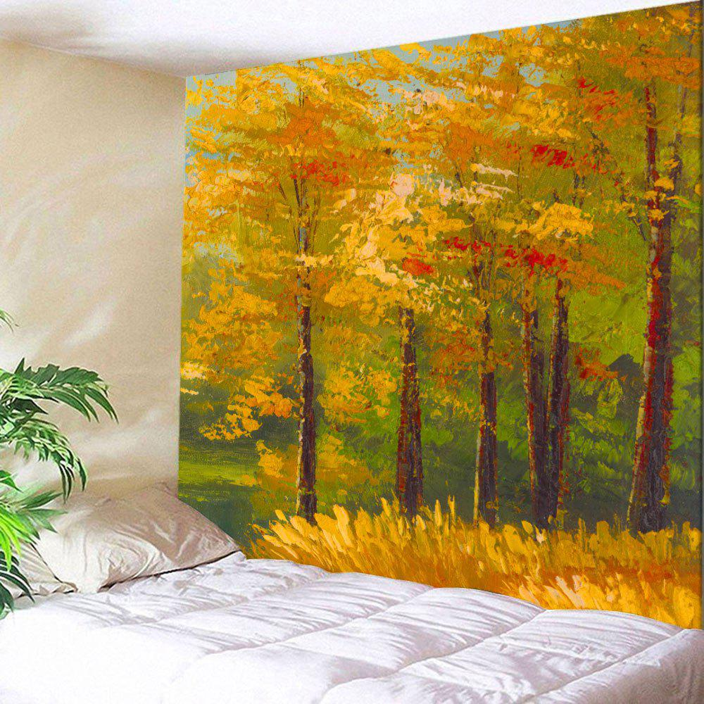 2018 Home Decor Oil Painting Maple Tree Wall Tapestry GOLDEN W ...