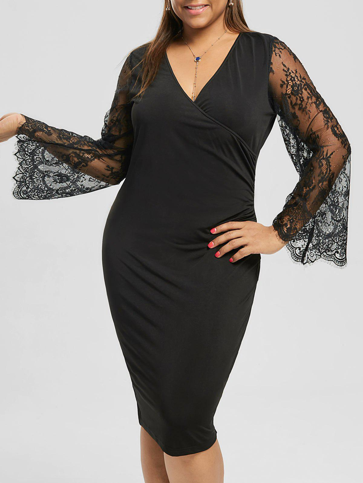Plus Size Lace Sleeve Pencil Dress - BLACK 5XL