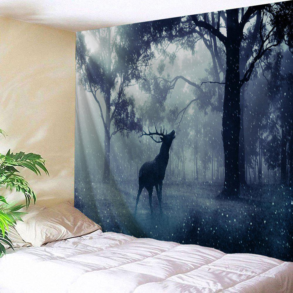 Mist Forest Deer Wall Hanging Tapestry - BLUE GRAY W71 INCH * L79 INCH