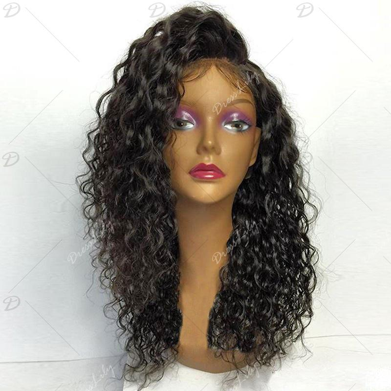 Deep Side Part Shaggy Curly Long Lace Front Synthetic Wig - BLACK