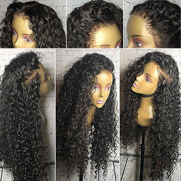 Free Part Shaggy Long Curly Lace Front Synthetic Wig - BLACK
