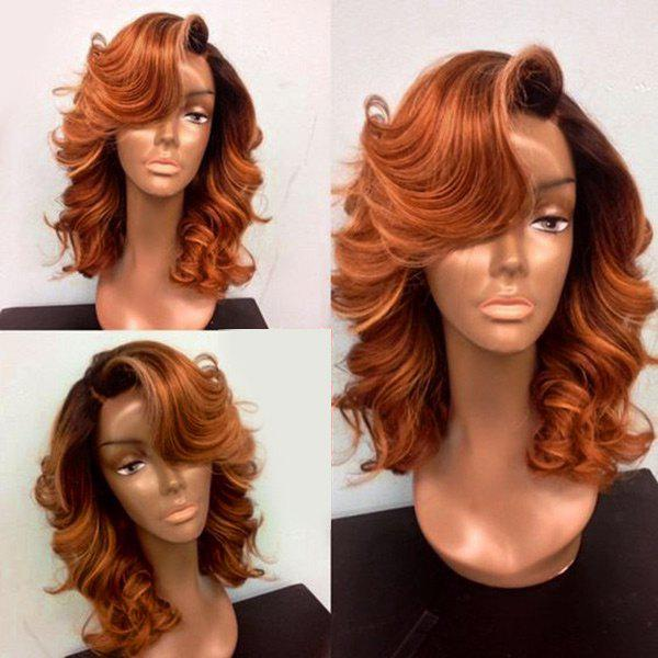 Deep Side Part Medium Body Wave Lace Front Synthetic Wig - PEARL KUMQUAT