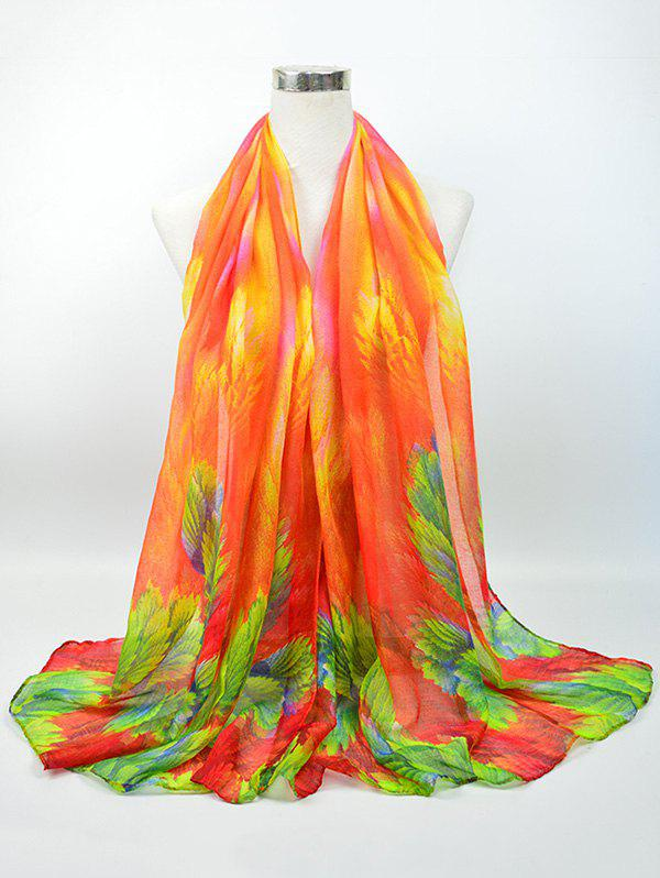Flowering Blossom Pattern Retro Voile Gossamer Scarf - BRIGHT ORANGE