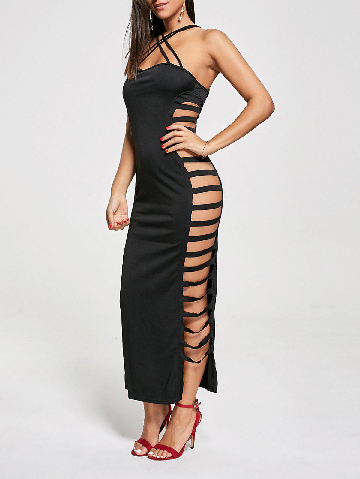 Sexy Cut Out Criss Cross Club Dress - BLACK L