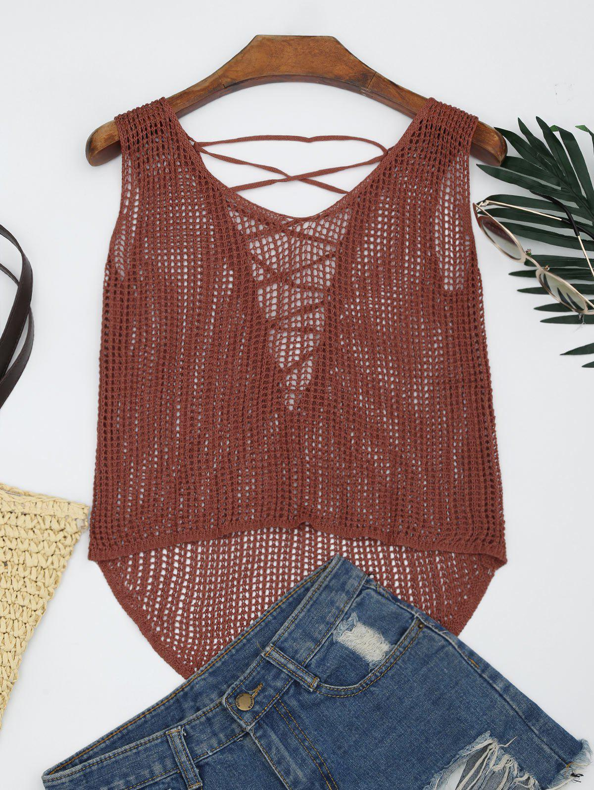 V Neck Lace-up Crochet Tank Top - ORANGE ONE SIZE