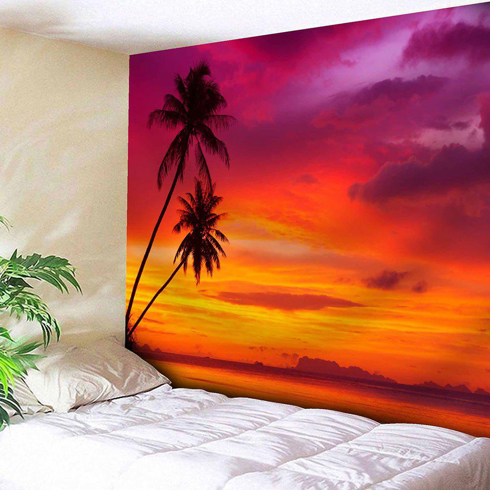 Coconut Trees Sunset Print Tapestry Microfiber Wall Hanging - RED W59 INCH * L51 INCH