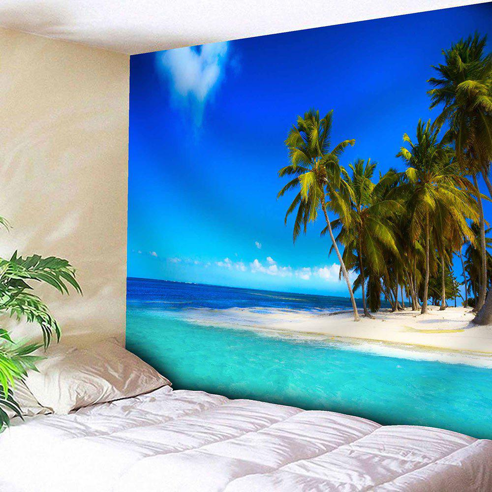 Wall Hanging Seaside Coconut Tree Print Tapestry - LAKE BLUE W59 INCH * L59 INCH