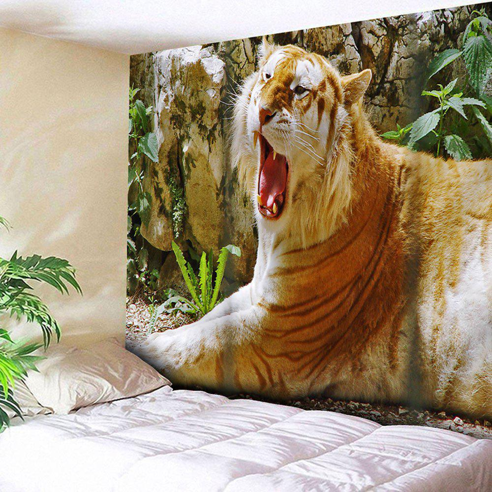 Yawning Tiger Printed Tapestry Microfiber Wall Hanging haptic information in cars