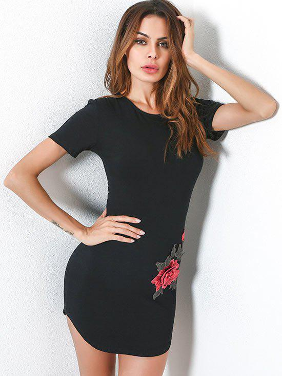 Embroidery Short Sleeve Fitted Tee Dress - BLACK M