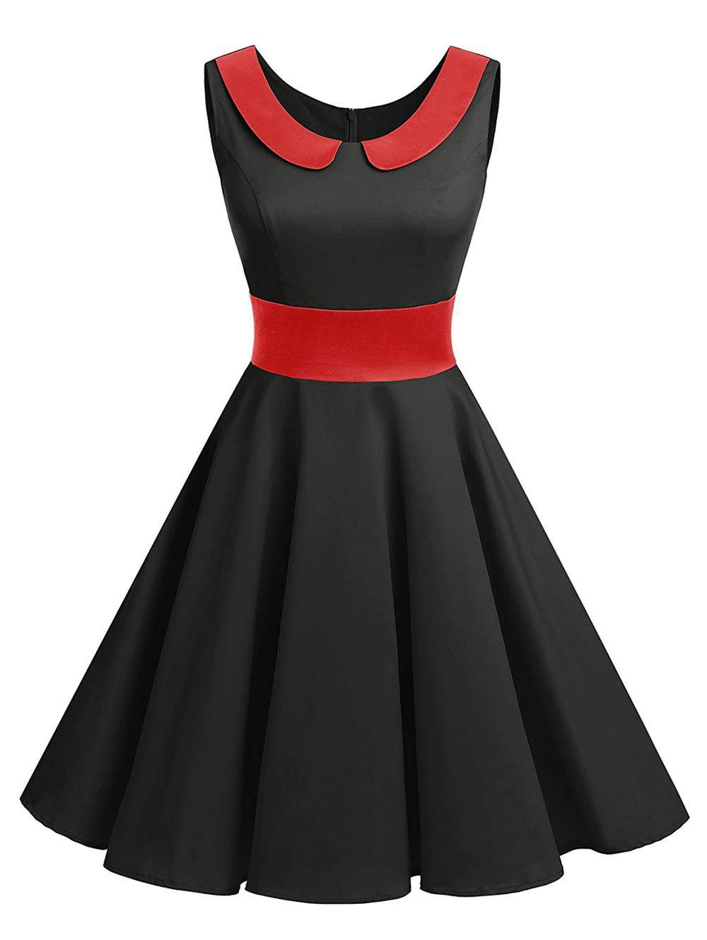 Vintage Peter Pan Collar Party Pin Up Dress - BLACK RED S