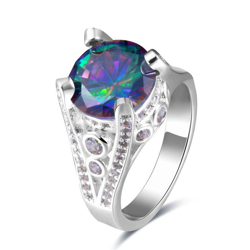 Artificial Gem Round Ring - SILVER 6