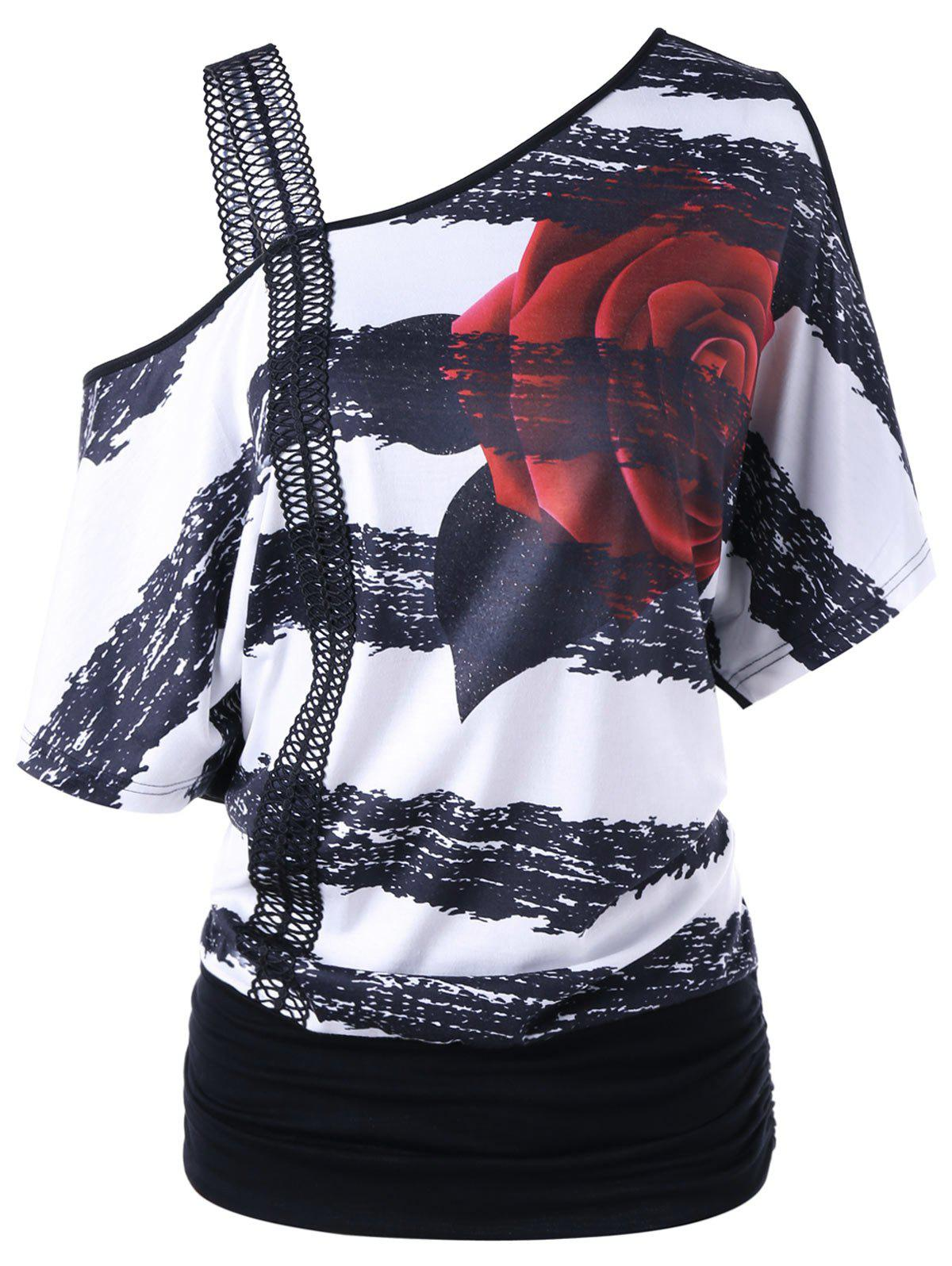 Skew Neck Floral Print T-shirt - BLACK WHITE XL