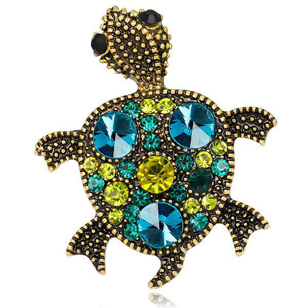 Turtle Shape Artificial Gem Inlay Engraved Brooch - GREEN