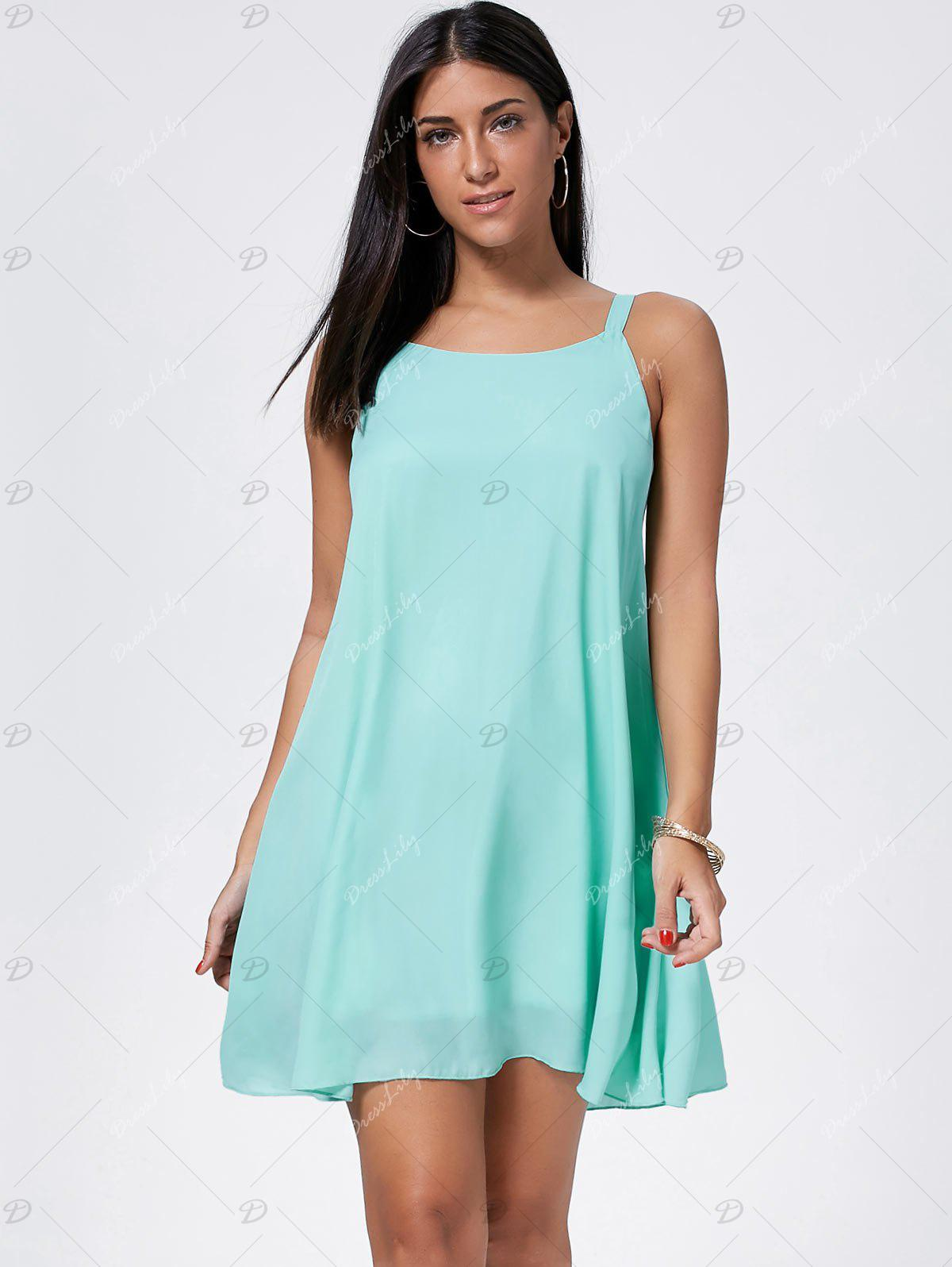Bowknot Chiffon Mini Trapeze Dress - LIGHT GREEN XL