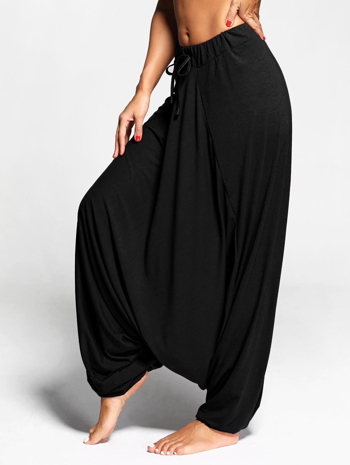 Drop Bottom Harem Pants with Drawstring - BLACK 2XL