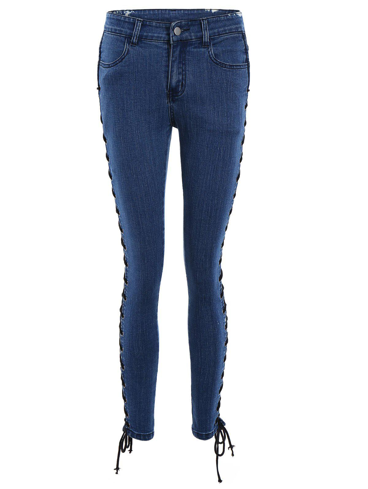Lace Up Side Fitted Pencil Jeans, DEEP BLUE, XL in Jeans ...